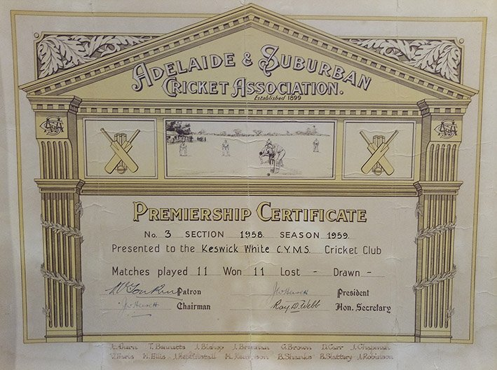 1959 ASCA Premiership Certificate Keswick Cricket Club