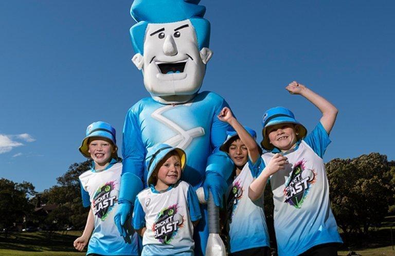 Woolworths Cricket Blasters kids with Adelaide Strikers mascot Keswick Cricket Club Master Blasters Junior Blasters