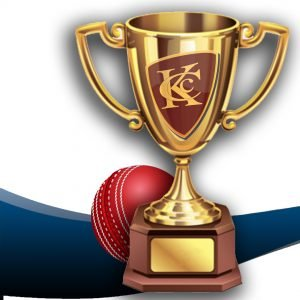 Trophy with Keswick Cricket Club logo on it sitting next to a cricket ball, used to advertise the Keswick CC trophy presentations.