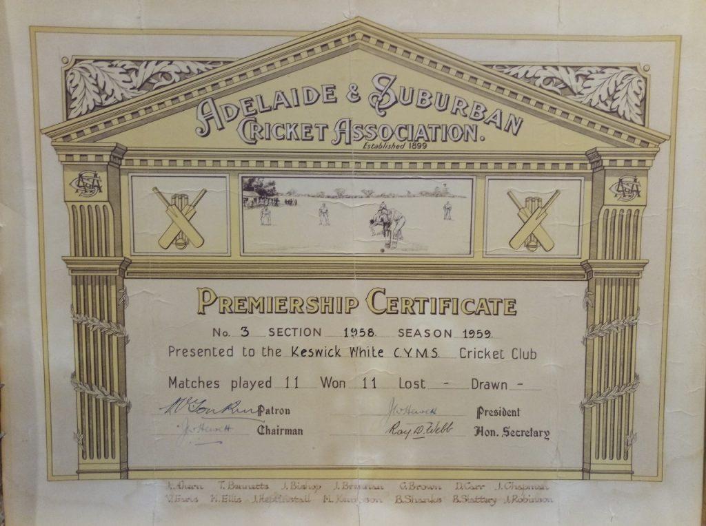 1958-59 Keswick White CYMS Section 3 Premiership Certificate - Keswick Cricket Club