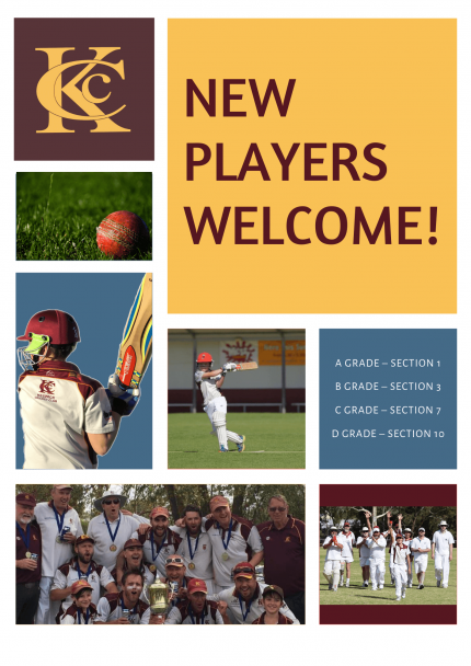 Collage of images to provide information for new players at Keswick Cricket Club. New Players Welcome! KCC logo. Pictures of winning teams. Pictures of kids playing cricket.